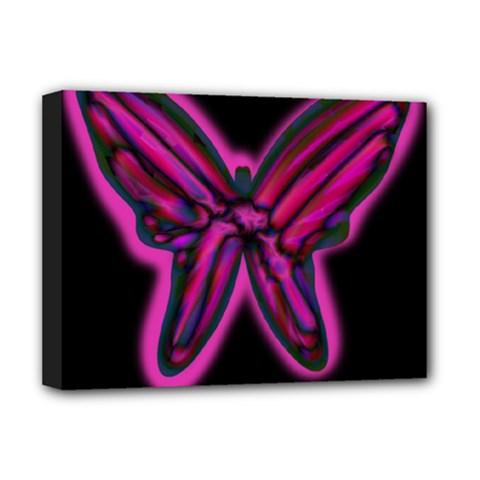Purple neon butterfly Deluxe Canvas 16  x 12