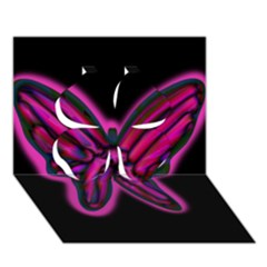 Purple neon butterfly Clover 3D Greeting Card (7x5)