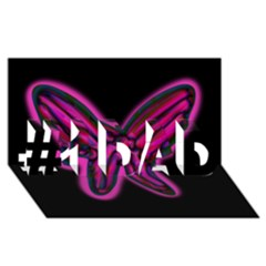 Purple neon butterfly #1 DAD 3D Greeting Card (8x4)