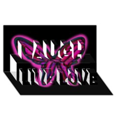 Purple neon butterfly Laugh Live Love 3D Greeting Card (8x4)