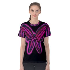 Purple neon butterfly Women s Cotton Tee