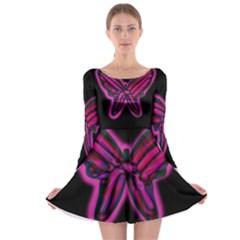Purple neon butterfly Long Sleeve Skater Dress