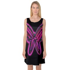 Purple neon butterfly Sleeveless Satin Nightdress