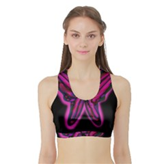 Purple neon butterfly Sports Bra with Border