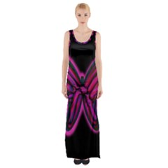 Purple Neon Butterfly Maxi Thigh Split Dress