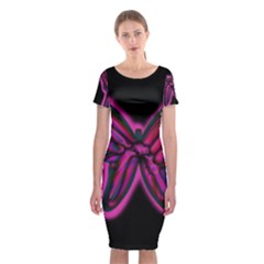 Purple Neon Butterfly Classic Short Sleeve Midi Dress