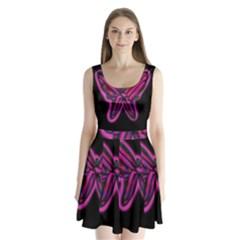 Purple neon butterfly Split Back Mini Dress