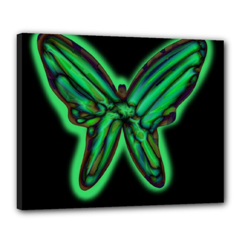 Green neon butterfly Canvas 20  x 16