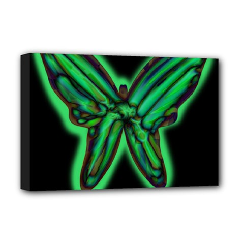 Green neon butterfly Deluxe Canvas 18  x 12