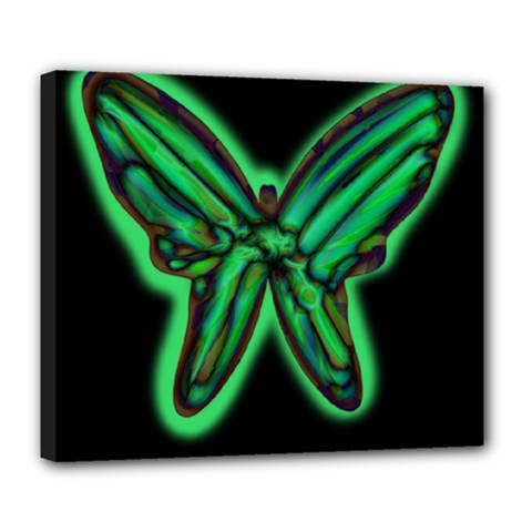 Green neon butterfly Deluxe Canvas 24  x 20