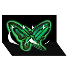 Green neon butterfly Twin Hearts 3D Greeting Card (8x4)