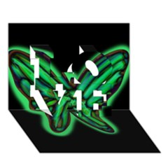 Green neon butterfly LOVE 3D Greeting Card (7x5)