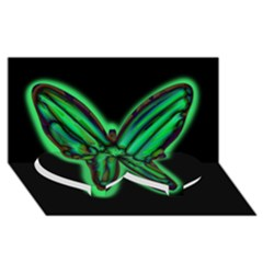 Green neon butterfly Twin Heart Bottom 3D Greeting Card (8x4)