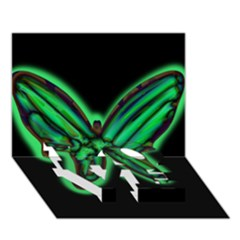 Green neon butterfly LOVE Bottom 3D Greeting Card (7x5)