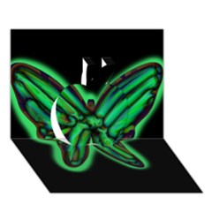 Green neon butterfly Apple 3D Greeting Card (7x5)