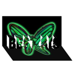 Green Neon Butterfly Best Sis 3d Greeting Card (8x4)
