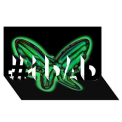 Green neon butterfly #1 DAD 3D Greeting Card (8x4)