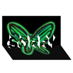 Green neon butterfly SORRY 3D Greeting Card (8x4)