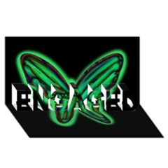 Green neon butterfly ENGAGED 3D Greeting Card (8x4)