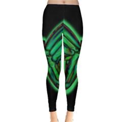 Green neon butterfly Leggings