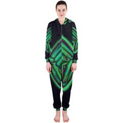 Green neon butterfly Hooded Jumpsuit (Ladies)