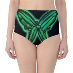 Green neon butterfly High-Waist Bikini Bottoms