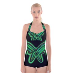 Green Neon Butterfly Boyleg Halter Swimsuit