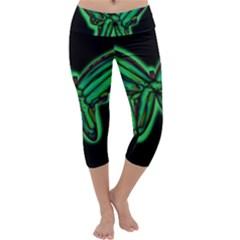 Green neon butterfly Capri Yoga Leggings