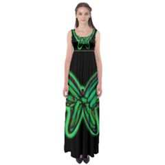 Green neon butterfly Empire Waist Maxi Dress