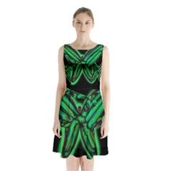 Green neon butterfly Sleeveless Chiffon Waist Tie Dress
