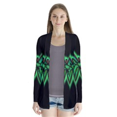 Green neon butterfly Drape Collar Cardigan