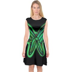 Green neon butterfly Capsleeve Midi Dress