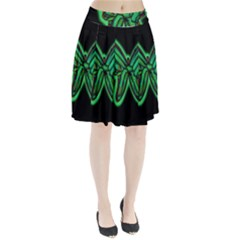 Green neon butterfly Pleated Skirt