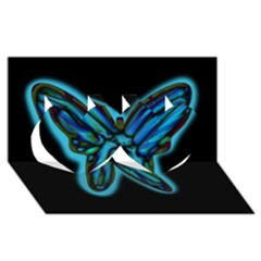 Blue butterfly Twin Hearts 3D Greeting Card (8x4)
