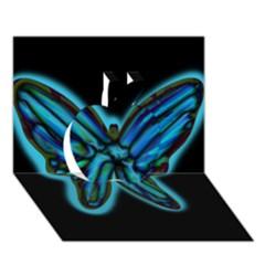 Blue butterfly Apple 3D Greeting Card (7x5)