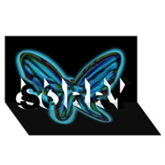 Blue butterfly SORRY 3D Greeting Card (8x4)