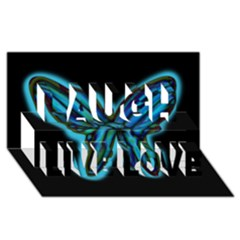 Blue butterfly Laugh Live Love 3D Greeting Card (8x4)