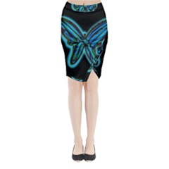 Blue butterfly Midi Wrap Pencil Skirt