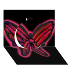 Red butterfly Circle 3D Greeting Card (7x5)