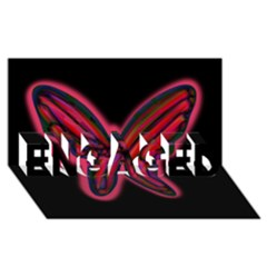 Red butterfly ENGAGED 3D Greeting Card (8x4)