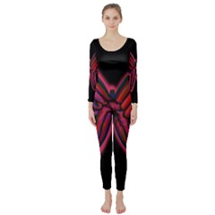 Red butterfly Long Sleeve Catsuit