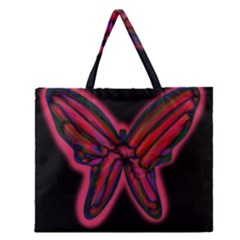 Red Butterfly Zipper Large Tote Bag
