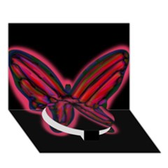 Red butterfly Circle Bottom 3D Greeting Card (7x5)