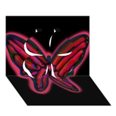 Red butterfly Clover 3D Greeting Card (7x5)