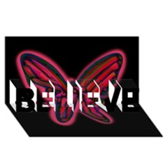 Red butterfly BELIEVE 3D Greeting Card (8x4)