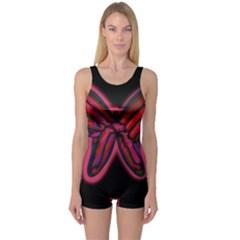 Red butterfly One Piece Boyleg Swimsuit