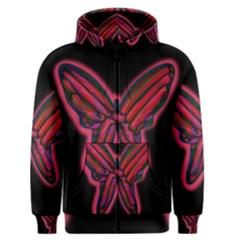 Red butterfly Men s Zipper Hoodie