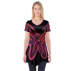 Red butterfly Short Sleeve Tunic