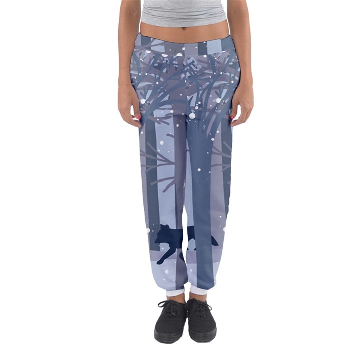 Foxes in the winter forest Women s Jogger Sweatpants