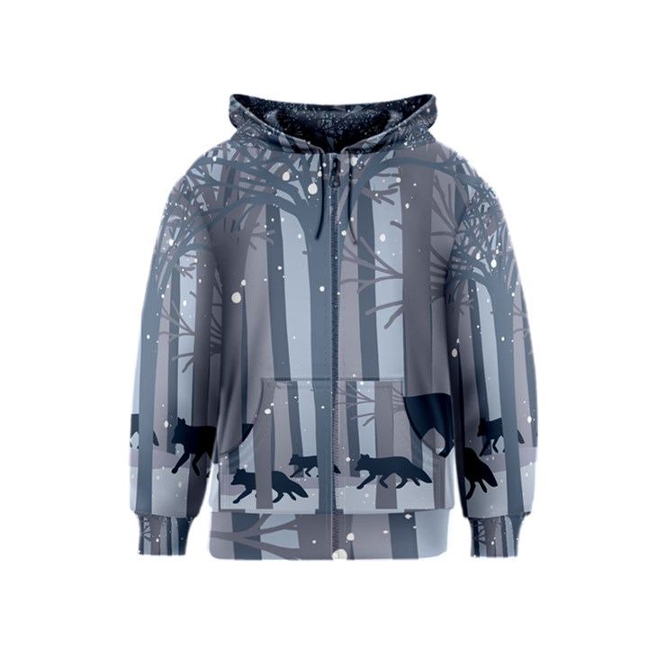Foxes in the winter forest Kids  Zipper Hoodie